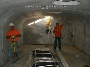 APPLICATION OF SIKA FLEX SEALANT TO SD VAULT 1 042006